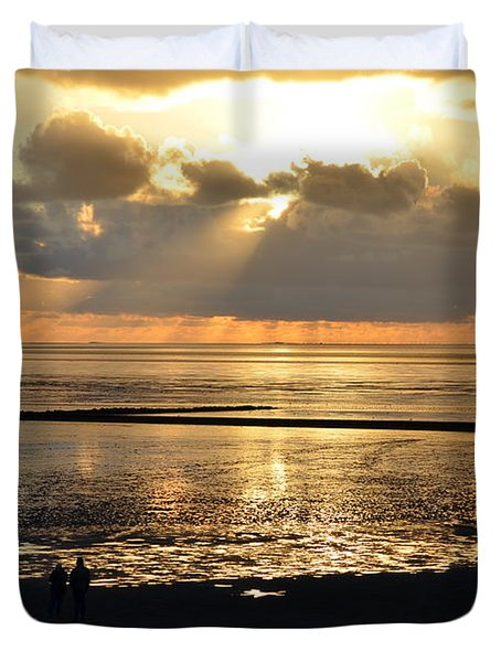 Sunset On North Sea Duvet Cover