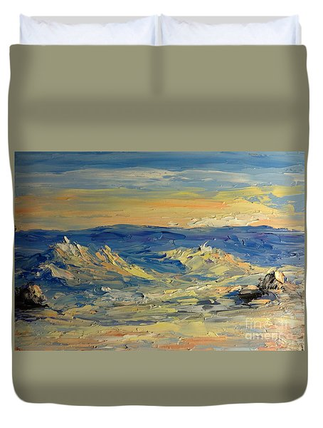Sunset On North Shore Duvet Cover by Fred Wilson
