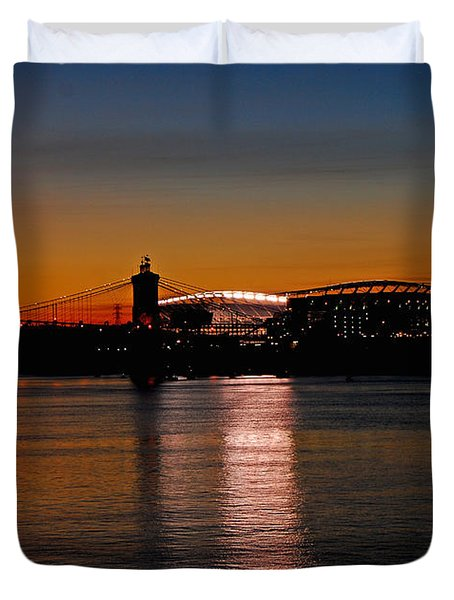 Sunset On Paul Brown Stadium Duvet Cover by Mary Carol Story