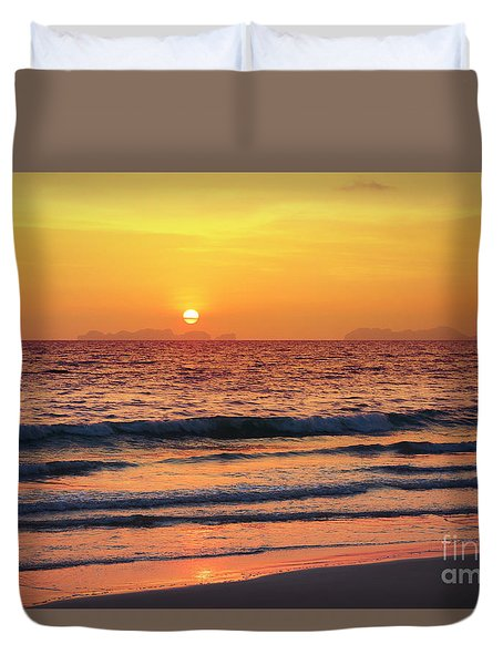Sunset On Phiphi Island Duvet Cover by Atiketta Sangasaeng
