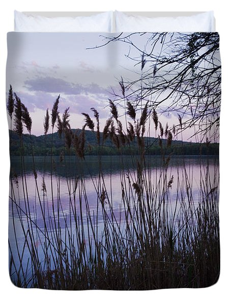 Sunset On Rockland Lake - New York Duvet Cover by Jerry Cowart