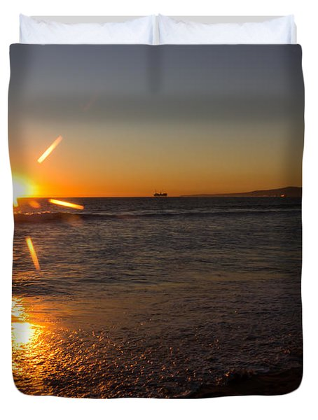 Sunset On Sunset Beach Duvet Cover by Heidi Smith