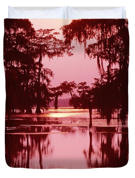 Duvet Cover featuring the photograph Sunset On The Bayou Atchafalaya Basin Louisiana by Dave Welling