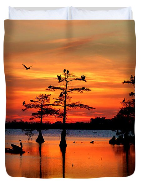 Sunset On The Bayou Duvet Cover by Carey Chen