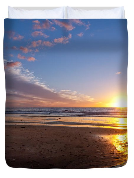 Sunset On The Beach At Carlsbad. Duvet Cover