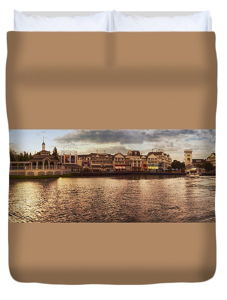 Sunset On The Boardwalk Walt Disney World Duvet Cover by Thomas Woolworth