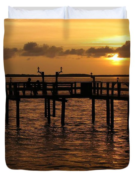 Sunset On The Dock Duvet Cover