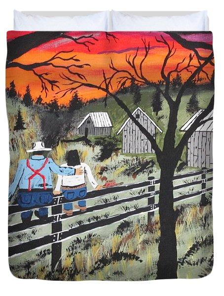 Sunset On The Fence Duvet Cover