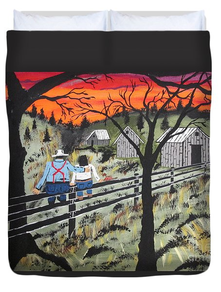 Duvet Cover featuring the painting Sunset On The Fence by Jeffrey Koss