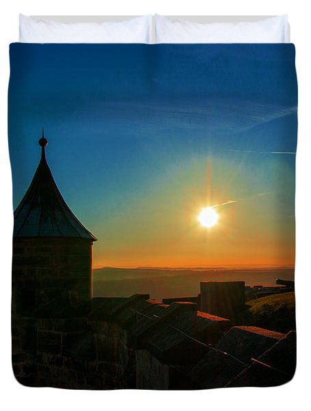Sunset On The Fortress Koenigstein Duvet Cover