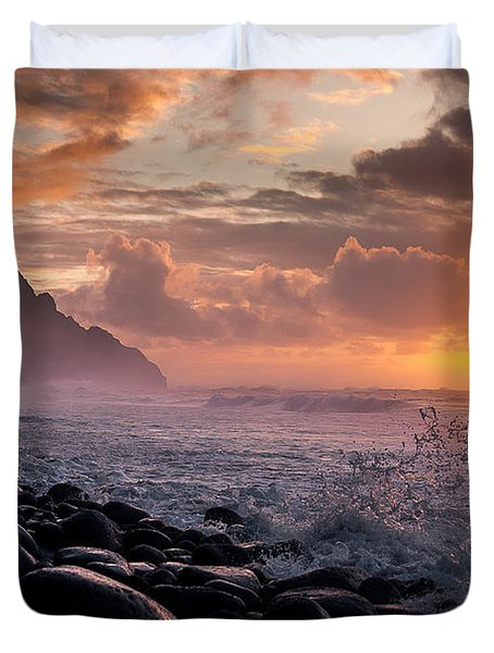 Sunset On The Kalalau Duvet Cover