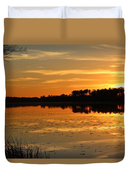 Sunset On The Lake Duvet Cover by Cynthia Guinn