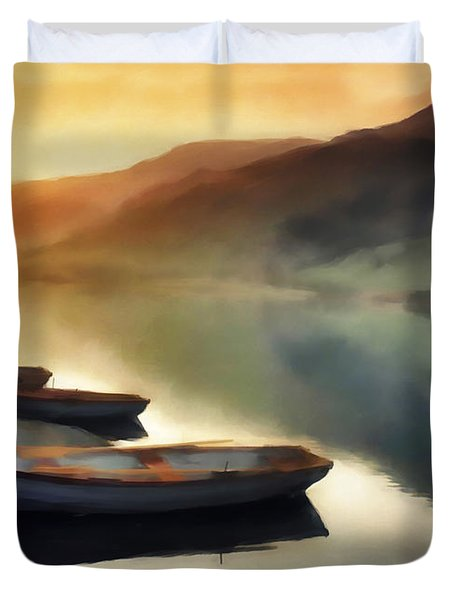 Sunset On The Lake Duvet Cover by David Ridley