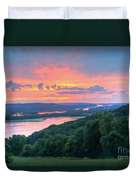 Sunset On The Mississippi Duvet Cover