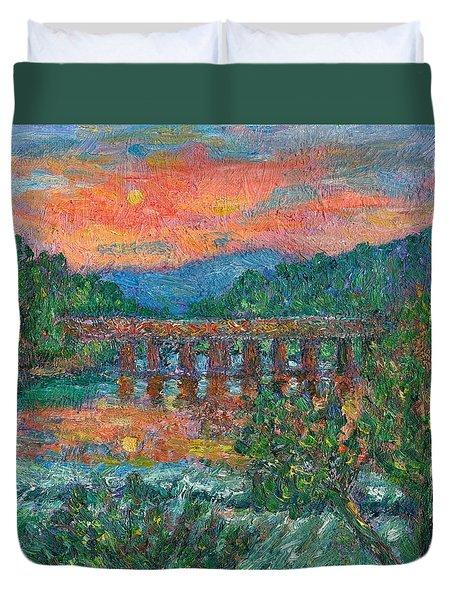 Sunset On The New River Duvet Cover