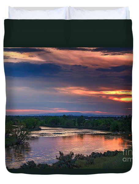 Sunset On The Payette  River Duvet Cover by Robert Bales