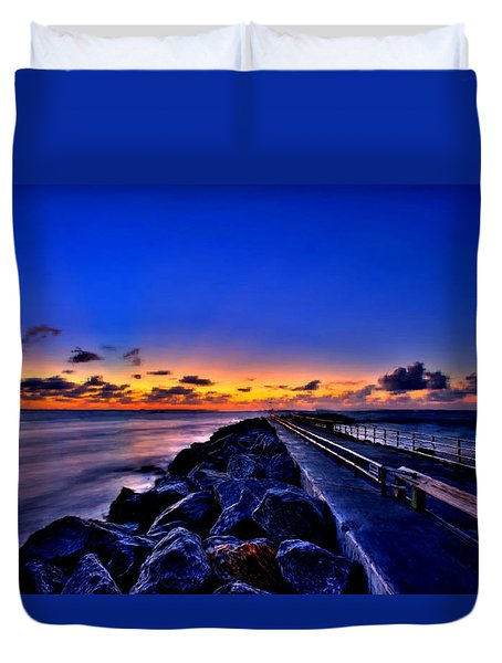 Duvet Cover featuring the painting Sunrise On The Pier by Bruce Nutting