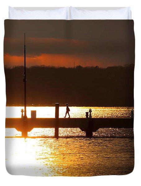 Sunset On The Pier Duvet Cover