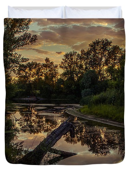Sunset On The Quiet River Duvet Cover