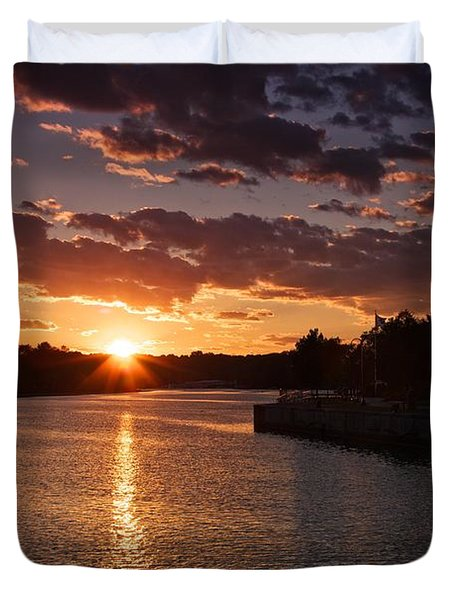 Duvet Cover featuring the photograph Sunset On The River by Dave Files