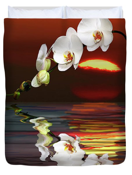 Sunset Orchids Duvet Cover by Angela A Stanton