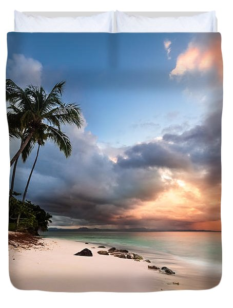 Sunset Over Bacardi Island Duvet Cover by Mihai Andritoiu