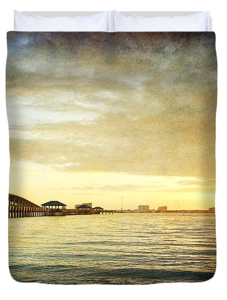 Sunset Over Biloxi Bay Duvet Cover by Joan McCool