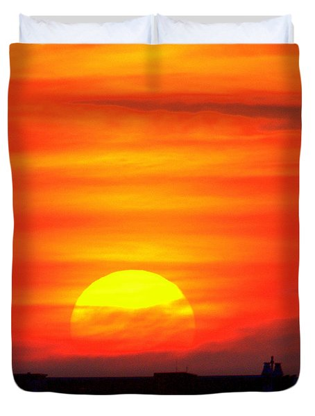 Sunset Over Boston Duvet Cover