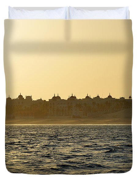 Duvet Cover featuring the photograph Sunset Over Cabo by Christine Till