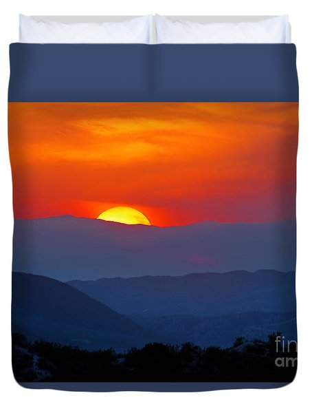 Duvet Cover featuring the photograph Sunset Over California by Martin Konopacki