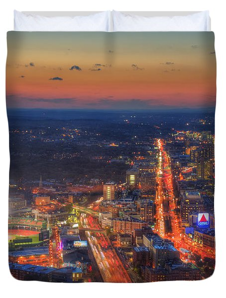 Sunset Over Fenway Park And The Citgo Sign Duvet Cover