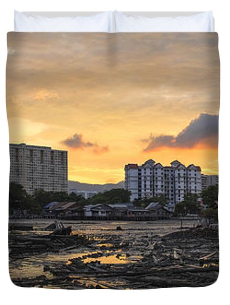 Sunset Over Georgetown Penang Malaysia Duvet Cover
