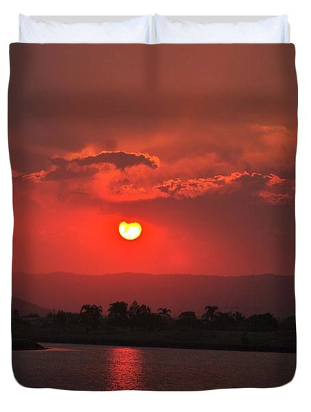 Sunset Over Hope Island Duvet Cover