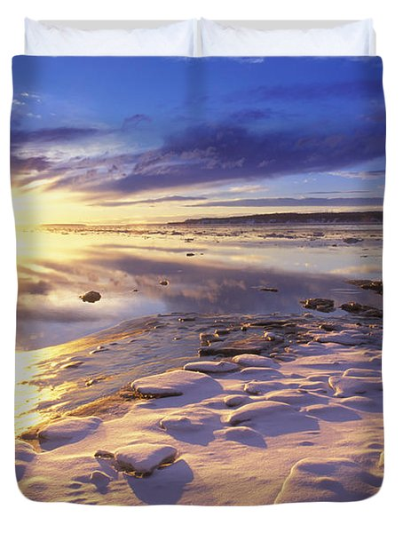 Sunset Over Knik Arm & Six Mile Creek Duvet Cover by Michael DeYoung