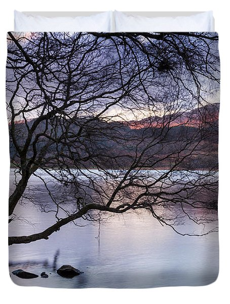 Sunset Over Lake Dinas Duvet Cover