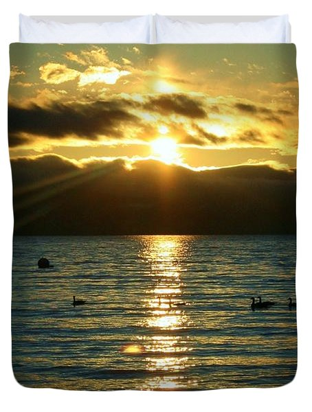 Sunset Over Lake Tahoe Duvet Cover