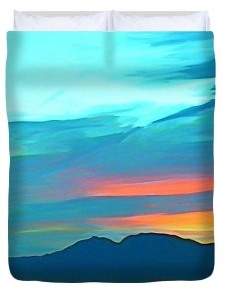 Sunset Over Las Vegas Hills Duvet Cover by John Malone