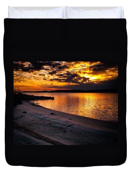 Sunset Over Little Assawoman Bay Duvet Cover