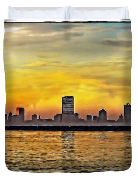 Sunset Over Milwaukee Duvet Cover