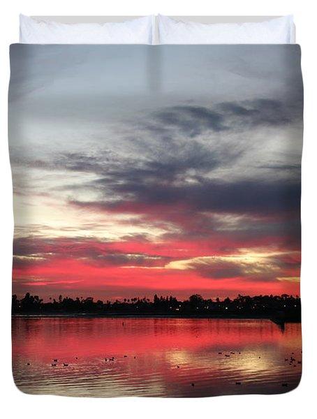 Sunset Over Mission Bay  Duvet Cover