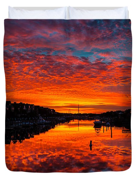 Sunset Over Morgan Creek - Wild Dunes Resort Duvet Cover
