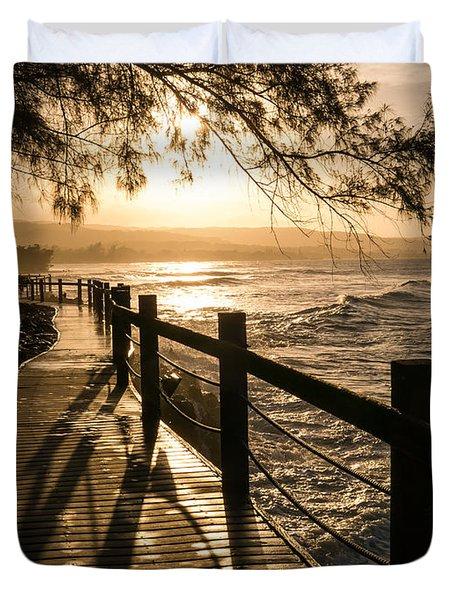 Sunset Over Ocean Walkway Duvet Cover