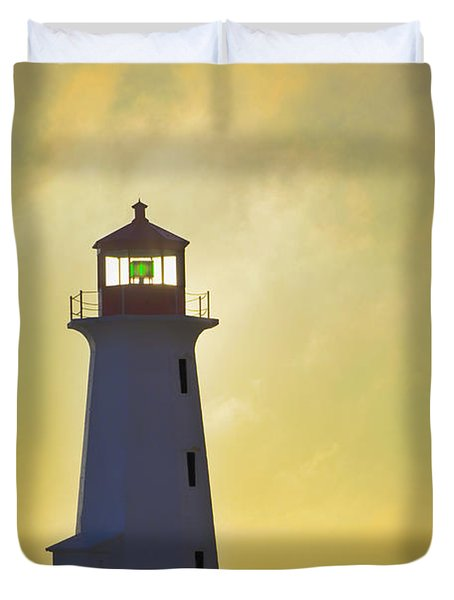 Sunset Over Peggys Cove Lighthouse Duvet Cover by Thomas Kitchin & Victoria Hurst