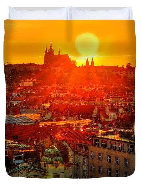 Sunset Over Prague Duvet Cover
