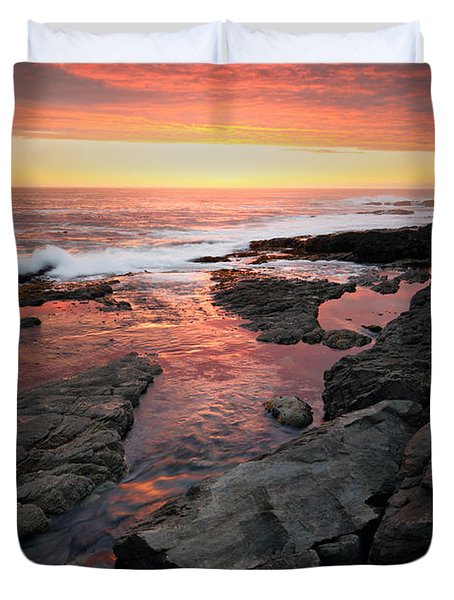 Sunset Over Rocky Coastline Duvet Cover