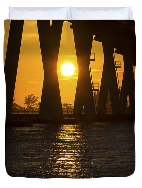 Sunset Over Sanibel Island Photo Duvet Cover