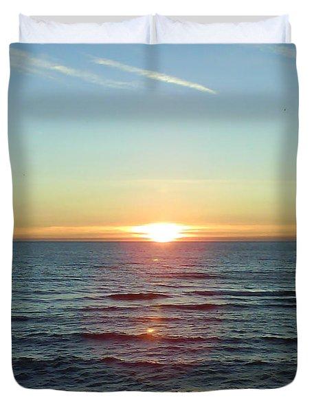 Sunset Over Sea Duvet Cover by Gordon Auld