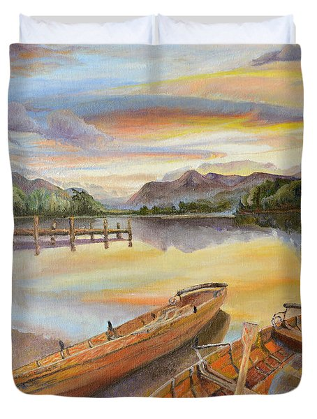 Duvet Cover featuring the painting Sunset Over Serenity Lake by Mary Ellen Anderson