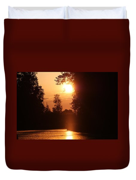 Sunset Over The Canals Duvet Cover by Rogerio Mariani