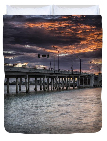 Sunset Over The Drawbridge Duvet Cover by Fran Gallogly